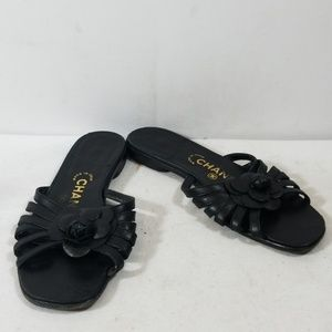Chanel Black Rosette Slide On Sandals Size 37